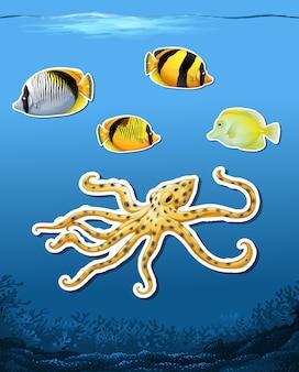 海の生き物のステッカー水中の背景