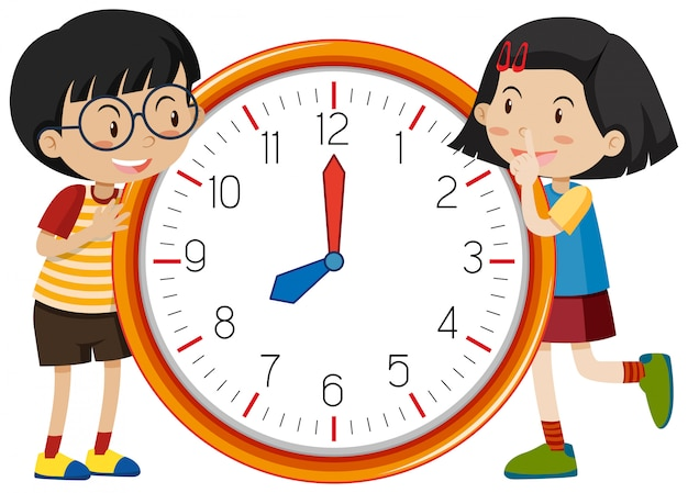 かわいい子供たちの時計のテンプレート