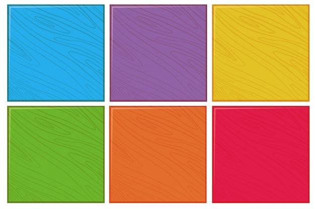色の木製の背景のセット