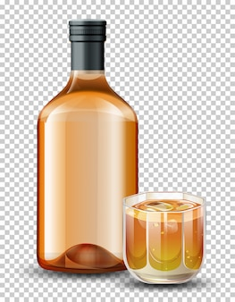 ボトルとウイスキーのグラス