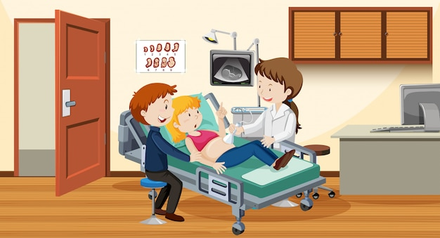 病院でカップルの超音波