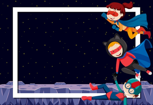 空白の枠線のスーパーヒーロー