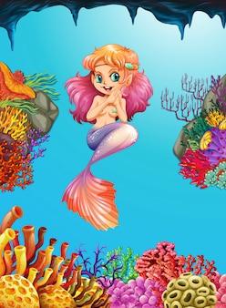 真っ青な海の中の美しい人魚