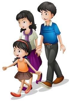 歩いている家族