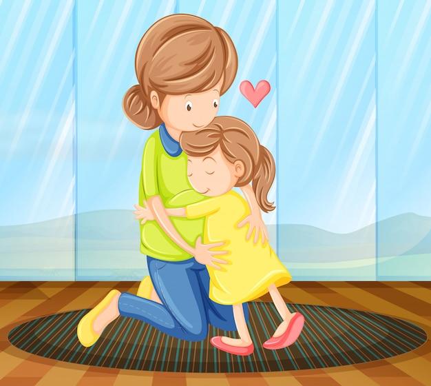 母親を抱いている子供