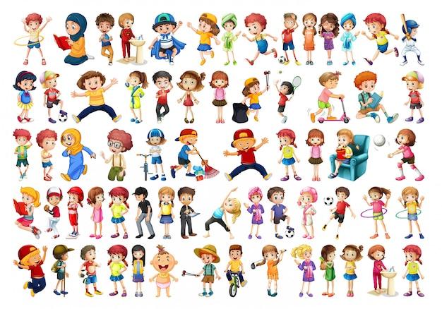 子供のキャラクターのセット
