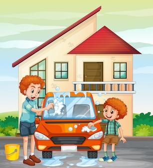 Папа и сын моют машину дома