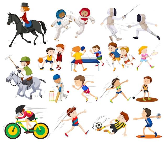 さまざまな種類のスポーツイラストをやっている人々
