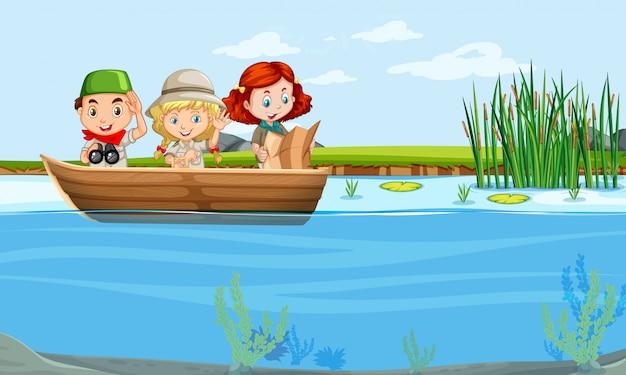 ボートに乗って子供たち