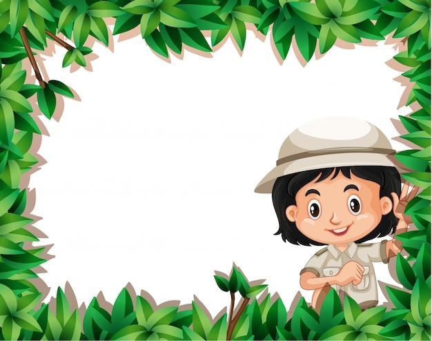 Мальчик с рамкой природы