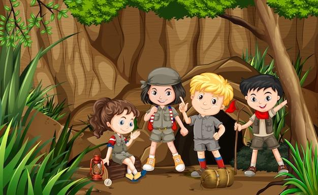 ジャングルの中で友達