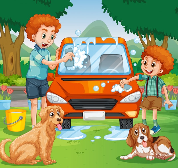 Отец и ребенок моют машину в парке