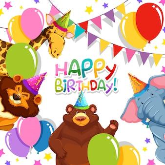 誕生日テンプレートの野生動物