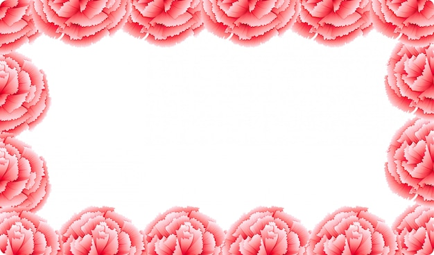 Розовая цветочная рамка с гвоздикой