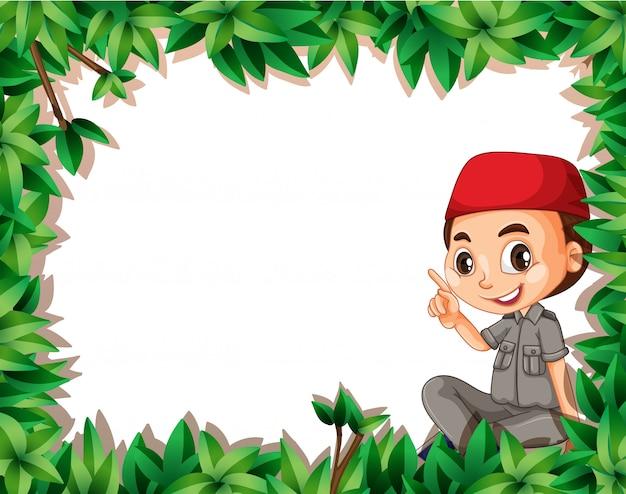 自然フレームにイスラム教徒のボーイスカウト