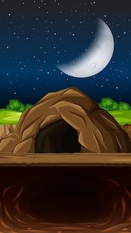 Пещера на ночной сцене