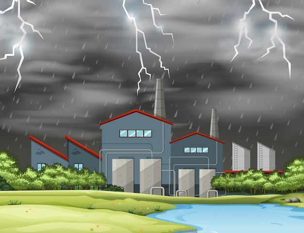 工場現場での雷