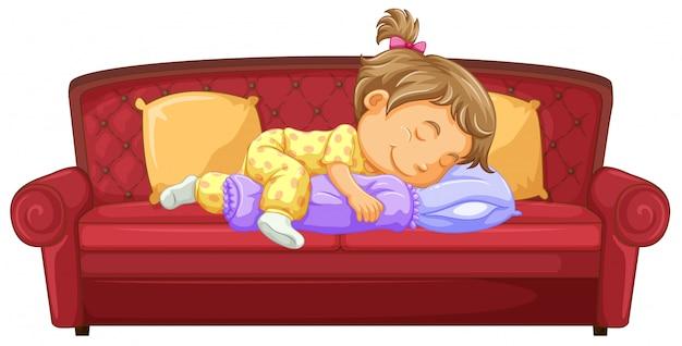 ソファで寝ている女の赤ちゃん