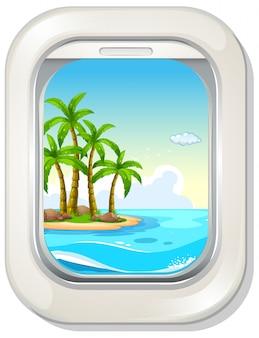 Вид на остров из окна самолета
