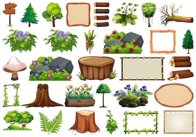 Набор элементов природы для декора