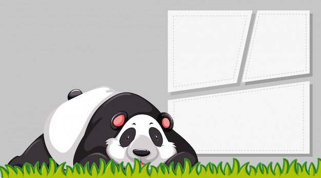 白紙の横断幕のパンダ