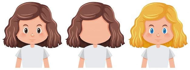 別の髪型を持つ少女のセット