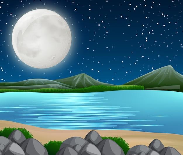 夜の川のシーン