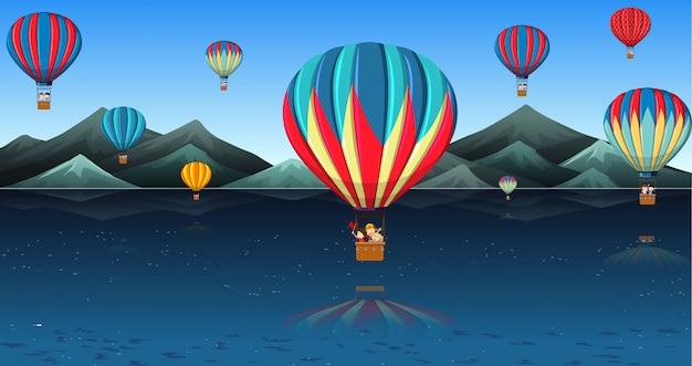 熱気球に乗る子供たち