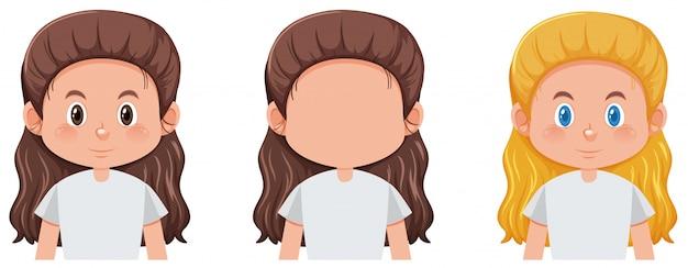 女の子の顔のセット