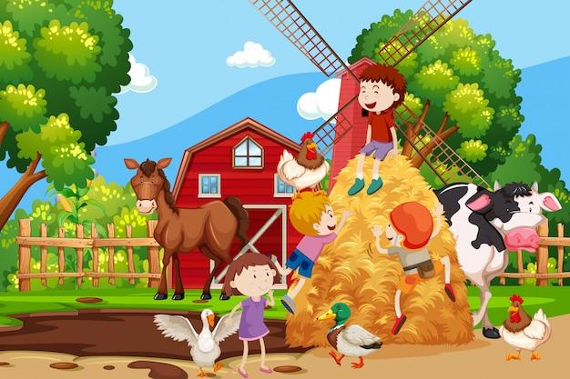 すべての動物と一緒に農場のシーン