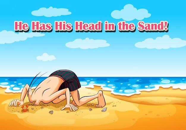 彼は砂で頭を抱えている。ビーチの背景