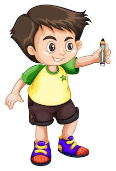 Молодой парень держит карандаш