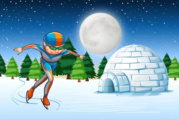 Человек на коньках зимой на заднем плане