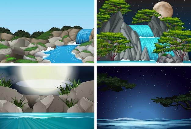 Набор водопад в фоне природы