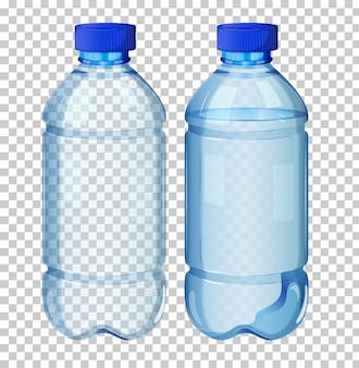 透明な水のボトルのセット