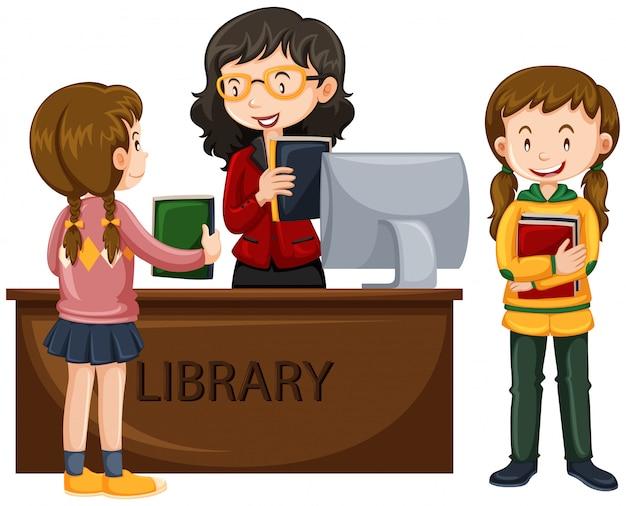 子供たちは図書館から本を借りる