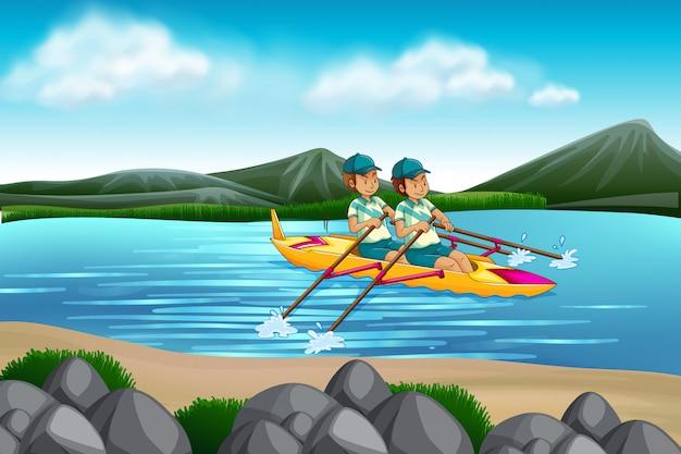 湖でカヌーに乗って男