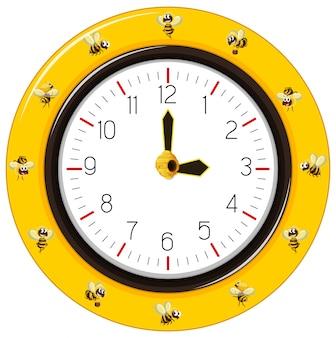 黒と黄色の縞模様の蜂の時計