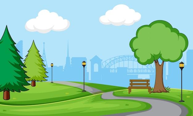都市公園のシーンの背景