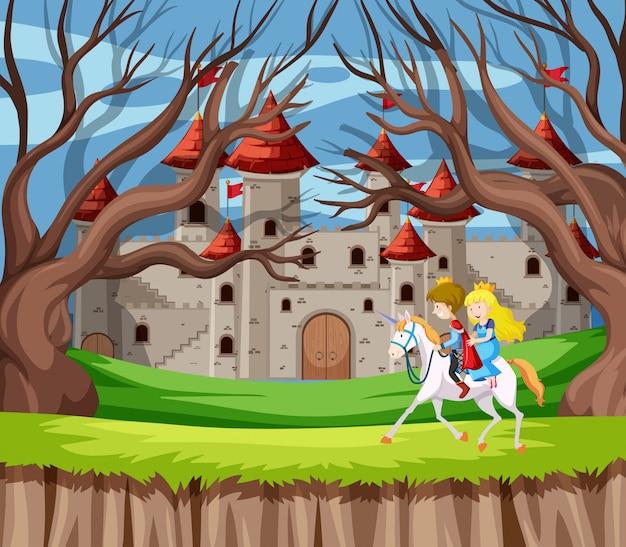 Принц и принцесса верхом на лошади