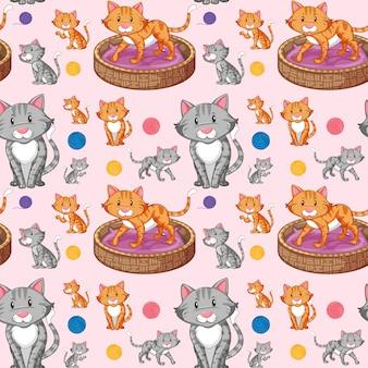 シームレスパターンの上の猫