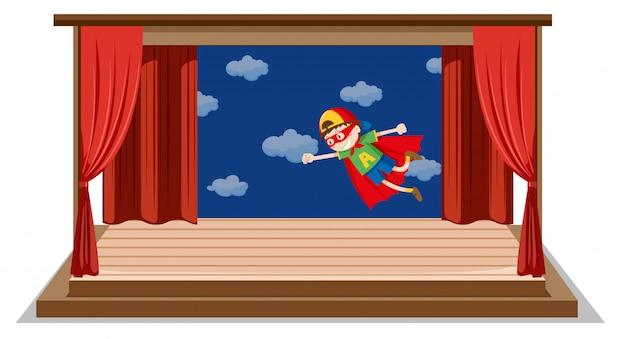 Мальчик драматическое шоу на сцене