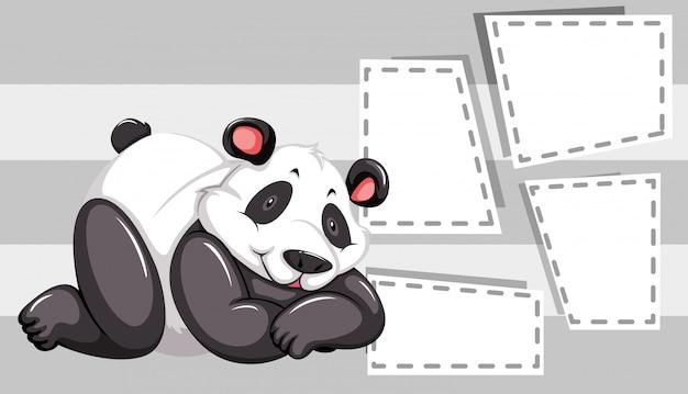 Панда на шаблоне заметки