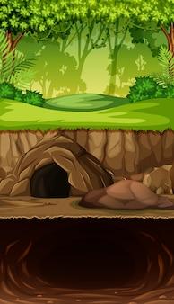 ジャングルの中で地下洞窟