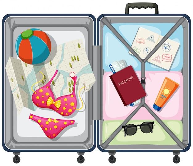 荷物の中の旅行要素