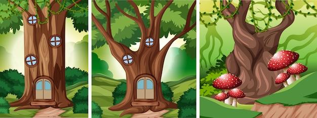 Набор сказочного леса фона
