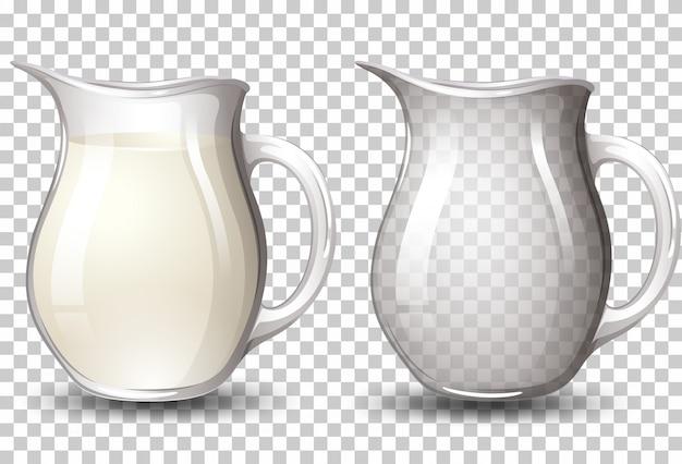 透明な背景の瓶にミルク