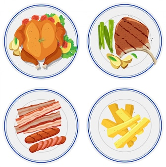 皿の上の食べ物のセット