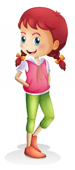 白い背景の上の少女キャラクター