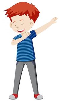 白い背景を踊っている少年